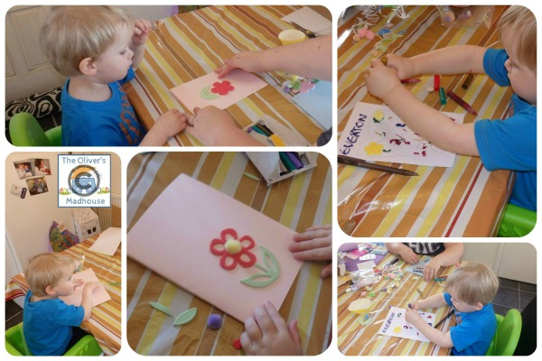 Making easter cards with toddlers