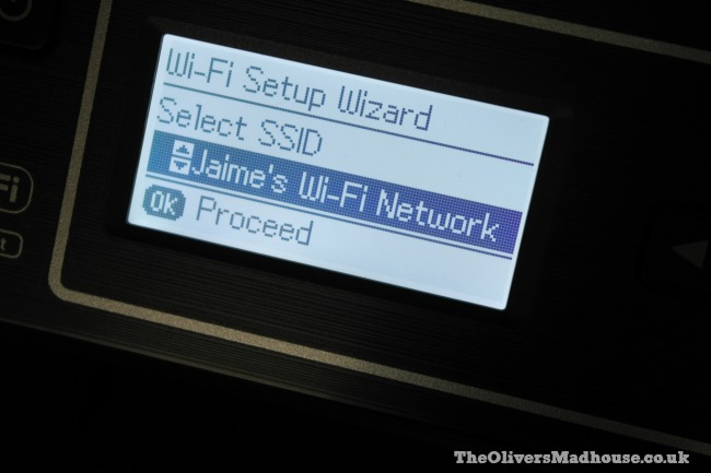 setting up the epson et-4550 wifi