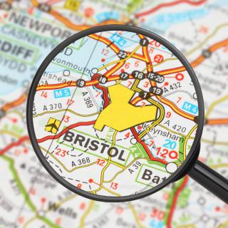 Tourist conceptual image: Destination - Bristol (with magnifying glass)