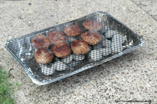 instant bbq with cooking burgers