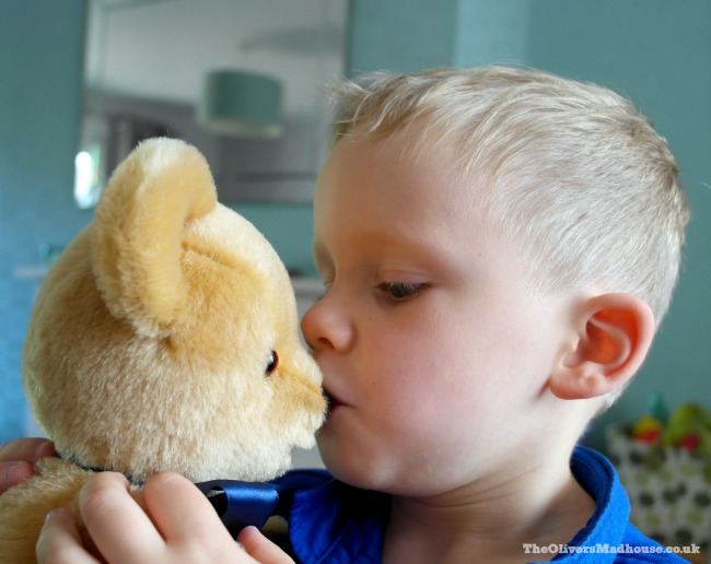 boy kissing his teddy bear