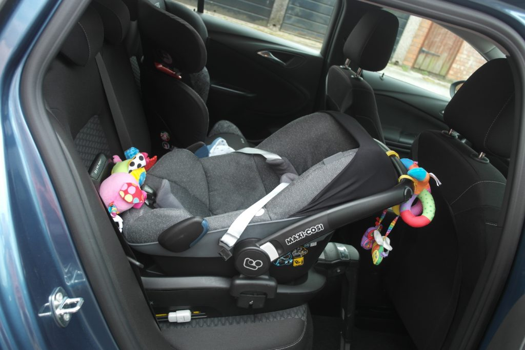 car seats fitted into the back of the astra