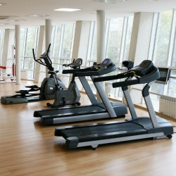 Treadmills exercise machines in a row