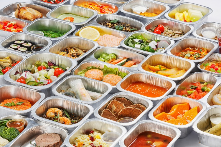 Separate portions of different food into containers