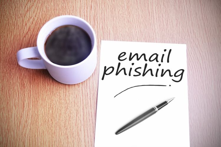 Black coffee on the table with note writing email phishing
