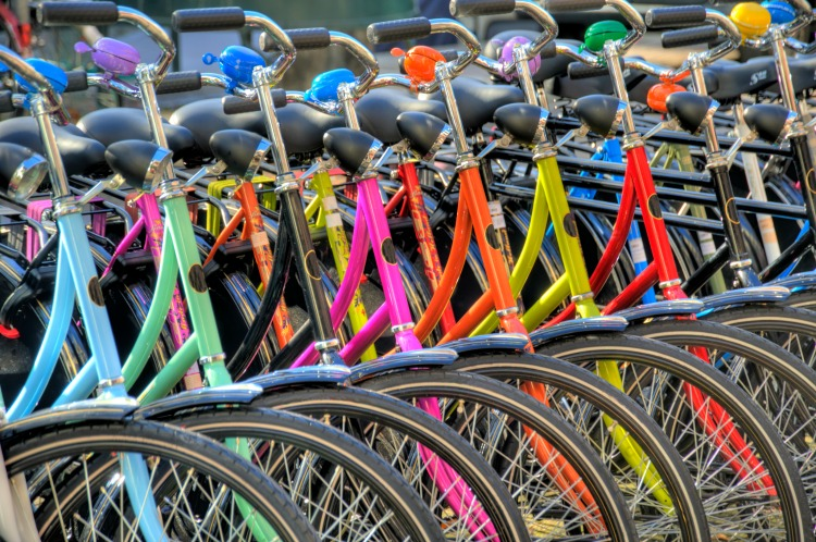 colorful bicycles in amsterdam