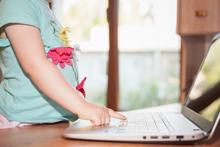 child on a laptop