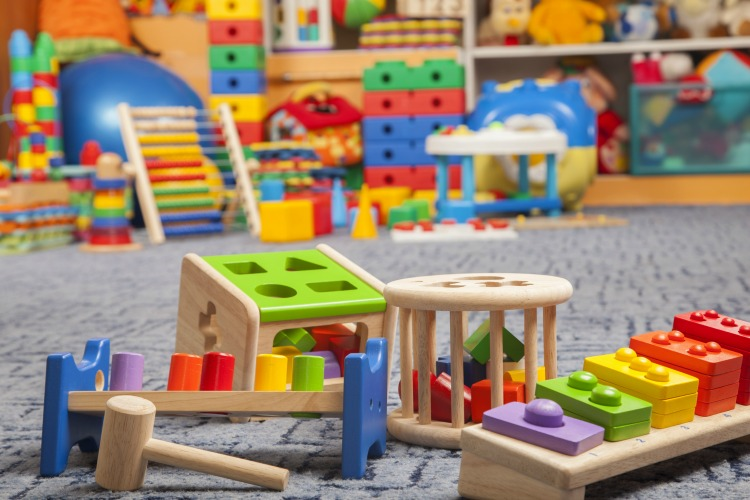 wooden colour toys in room for children