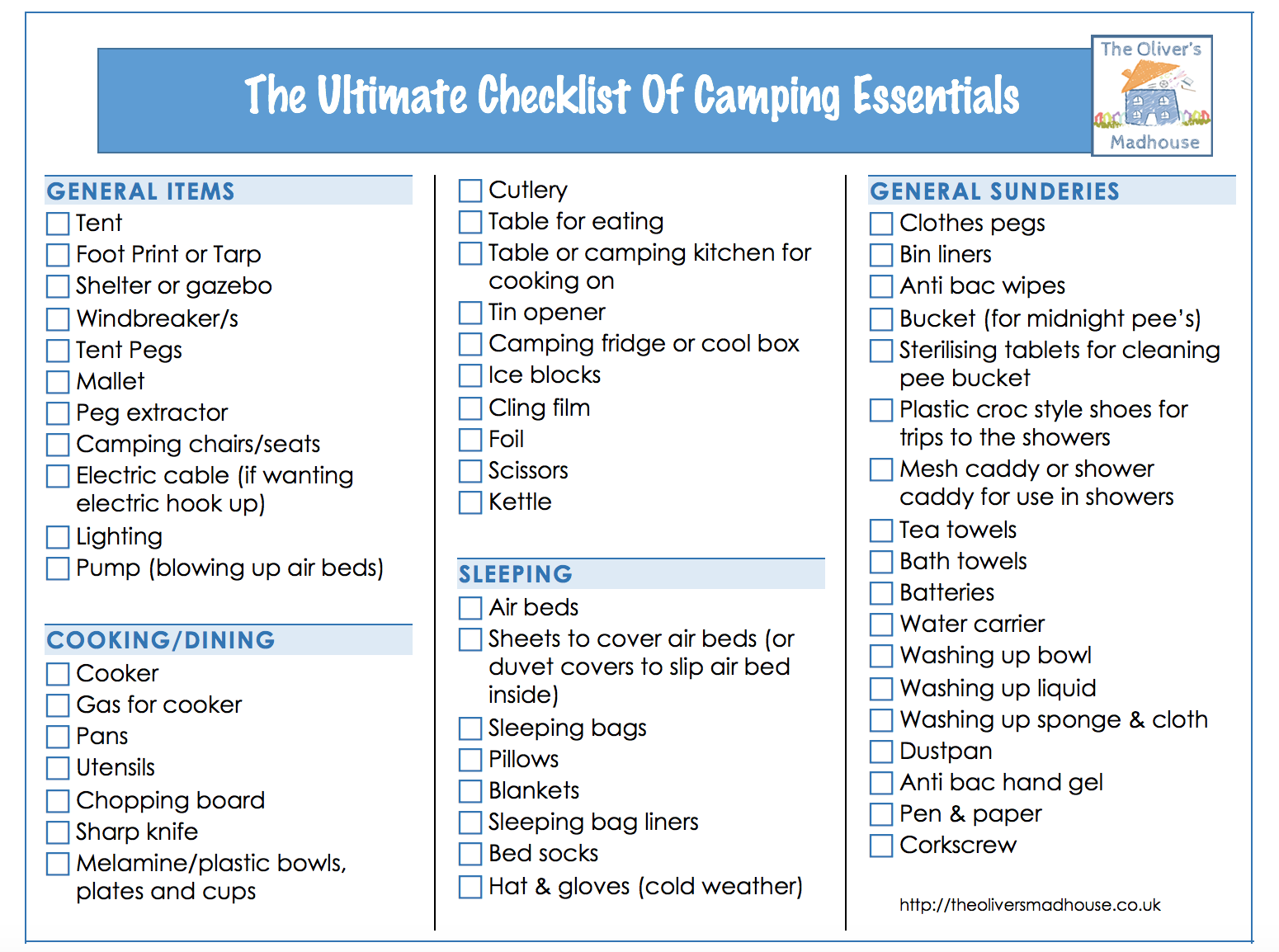 The Ultimate Checklist Of Camping Essentials - What To Pack The Oliver\\\'s Madhouse