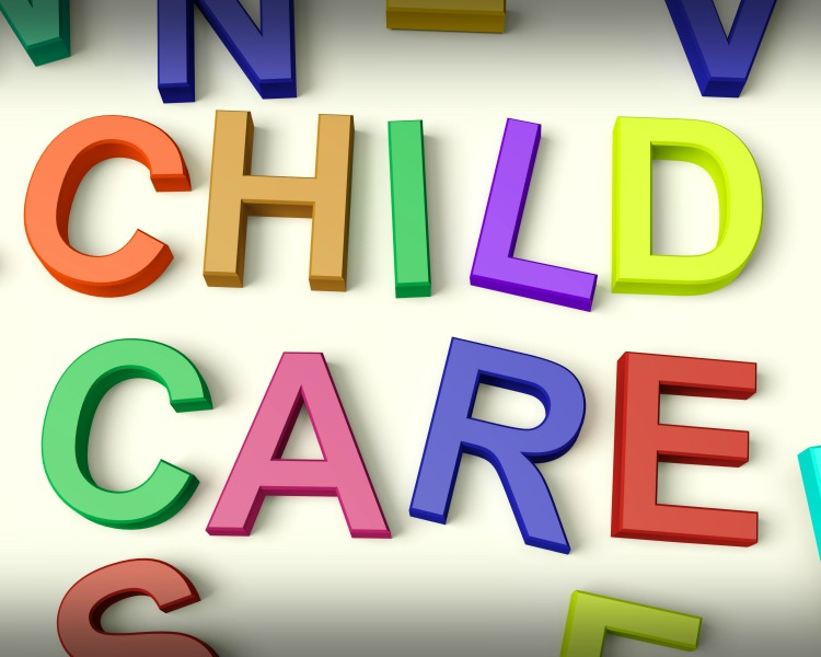 Child Care Written In Multicolored Plastic Kids Letters